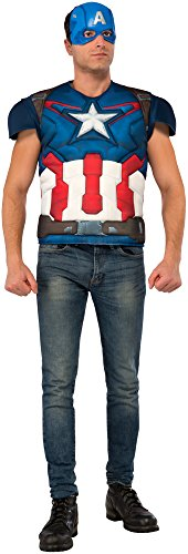 Marvel Rubie's Men's Avengers 2 Age Of Ultron Adult Captain America Muscle Chest Costume Top and Mask, Multi, (Captain America Muscle Costumes)