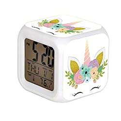 JHSIT 7 Color Change LED Digital Alarm Clock with Date Alarm Thermometer Desktop Table Cube Alarm Clock Child Home Floral Unicorn Faux Gold