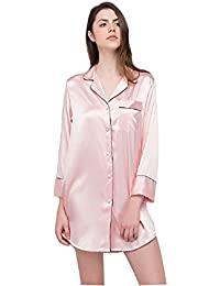 Womens Long Sleeve Sleepshirt Button-Front Nightshirts Pajama Top