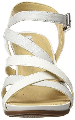 C Blanco Sandalias para Plataforma White con Dorotha D Mujer Geox Plana Platinum ABqw6Ez