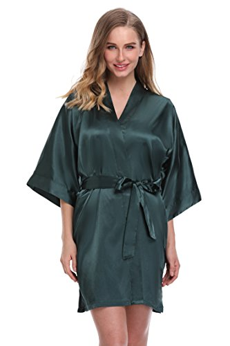 expressbuynow Women's Satin Kimono Robe Short Bridal Robe, Solid Color, Army Green, XXXL