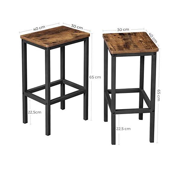 VASAGLE Lot de 2 Chaises de Bar, Tabourets Hauts de Style Industriel, pour Cuisine, Salle à Manger, Salon, Marron…