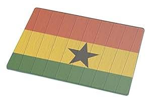Rikki Knight Ghana Flag on Distressed Wood Large Glass Cutting Board
