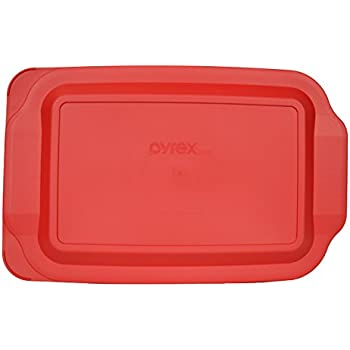 "Pyrex 3 Quart 9"" x 13"" Red Oblong Plastic Lid 233-PC for Glass Baking Dish"