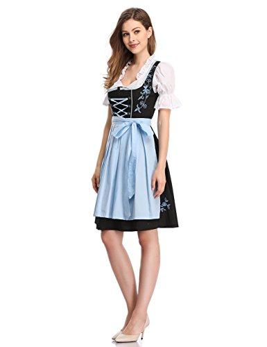Robe Oktoberfest lgante Costume la Manches Robe Femme 3 bavarois Bire Costume Susi de D'Octobre Carnaval Fete Courtes pour Festival Oktoberfest Dirndl pour Robe Fminine pieces Une de Set EYCzx1Cqw