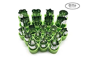 IONESTAR Vegetable Fruit Cutters Shapes Set(20Pcs) for Kids,Mini Bulk Metal Stainless Steel Cookie Cutters Cheese Presses, Flower Star Heart Animals Shaped Mold for Decorative Customizing Tools Kit