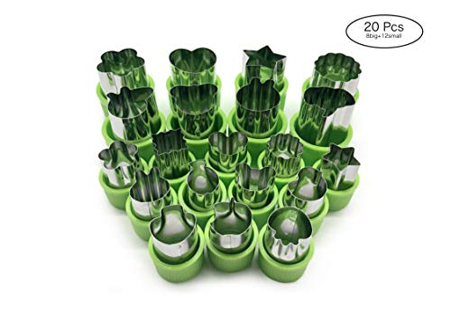 IONESTAR Vegetable Fruit Cutters Shapes Set(20Pcs) for Kids,Mini Bulk Metal Stainless Steel Cookie Cutters Cheese Presses, Flower Star Heart Animals Shaped Mold for Decorative Customizing Tools -
