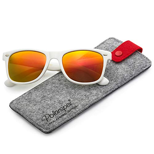 POLARSPEX POLARIZED UNISEX 80'S RETRO CLASSIC TRENDY STYLISH SUNGLASSES, Gloss White | Lava Red, One Size
