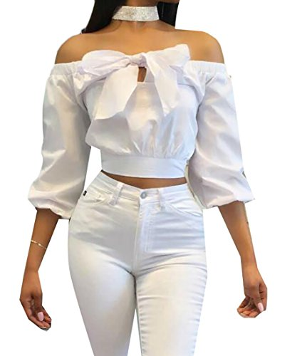 UUYUK Womens Half Sleeve Sexy Off Shoulder Bow Tie Solid Crop Tops White US (Half Bow)