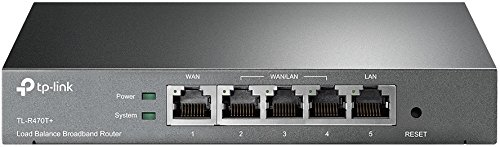 TP-Link SafeStream TL-R470T+ Fast Ethernet Load Balance Broadband Router, supports up to 4 WAN ports/VPN pass-through/IPv6 routing