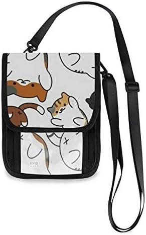 トラベルウォレット ミニ ネックポーチトラベルポーチ ポータブル かわいい 子猫 小さな財布 斜めのパッケージ 首ひも調節可能 ネックポーチ スキミング防止 男女兼用 トラベルポーチ カードケース