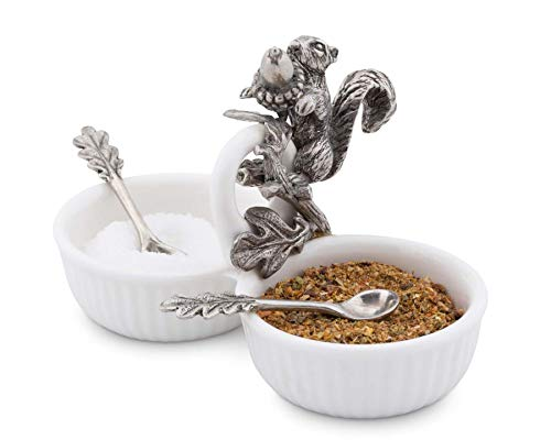 Vagabond House Squirrel Double Salt Cellar with Pewter Leaf Spoons