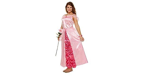 Emmas Wardrobe Traje del Vestido de la Princesa Rosa - Incluye Largo Vestido Rosa y Pulsera Rose - Traje de Halloween del Cuento de la Mujer - Hecho del Reino Unido Tamaños