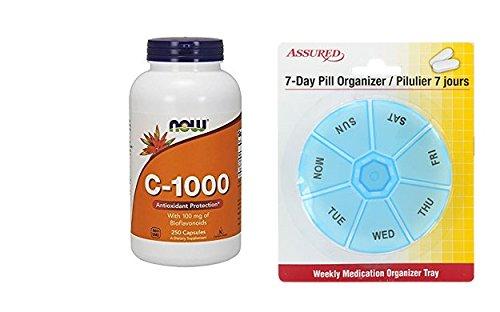 Amazon.com: Cápsulas de vitamina C-1.000.250 ahora Veg con gratis 7 días plástico píldora organizadores: Health & Personal Care