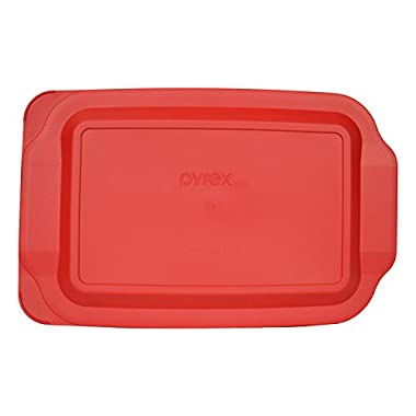 Pyrex 232-PC Quart Oblong Plastic Lid , Non Porus, 7x11-Inches (Red)