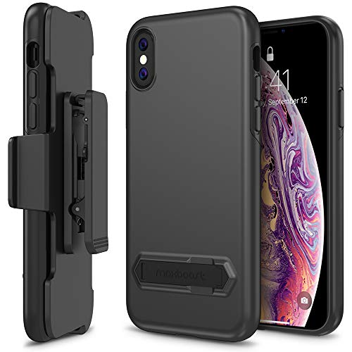 Maxboost DuraSlim Pro Case Designed for Apple iPhone Xs (2018)/ iPhone X (2017) Holster Kickstand + Belt Clip Holder [Black] Dual Layer Protection/Shock-Absorbing/Smooth Grip for iPhone Xs & iPhone X