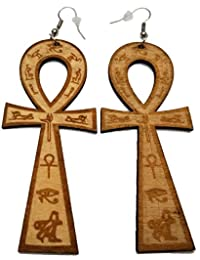 BUNFIREs Ankh Egyptian Cross Earrings Natural Wood Dangle Wooden Lightweight Cross Earring