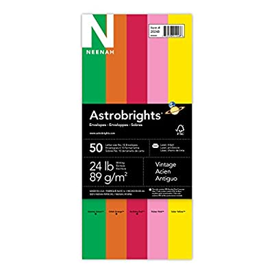 Neenah Astrobrights Envelopes, Vintage Assortment, 4.125 X 9.5 Inches, 50-Count, (20248)