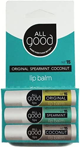 All Good SPF 15 Lip Balm for Soft Smooth Lips - Calendula, Lavender, Olive Oil, Beeswax, Vitamin E | Zinc Oxide for Safe Sun Protection (3-Pack) (Original/Spearmint/Coconut)