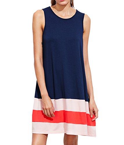 Romwe Women's Summer Loose Sleeveless Tunic Tank Dress Navy S