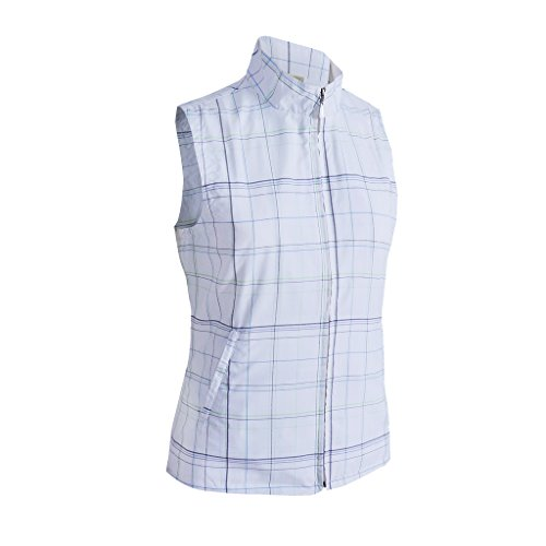 Monterey Club Ladies Lightweight Plaid Vest #2795 (White/Lettuce, Small)