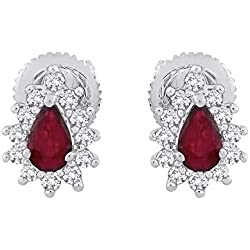 Diamond and Pear Cut Ruby Tear Drop Fashion Earrings in Gold or Silver (3/4 cttw) (GH-Color, I2/I3-Clarity)