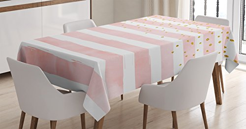 Modern Tablecloth by Ambesonne, Striped Pattern in Pastel Colors with Vivid Colored Dots Shabby Art Print, Dining Room Kitchen Rectangular Table Cover, 60 X 84 Inches, Light Pink White Yellow