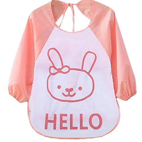 Baby Waterproof Bibs, Lookatool Kids Child Cartoon Translucent Plastic Soft Baby Waterproof Bibs (Pink)