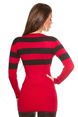 Damen Long Pulli, Pullover oder auch über einer Leggins als gestreiftes Minkleid tragbar, Einheitsgröße 32-38, Farbe: Rot