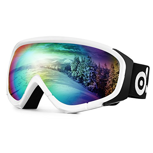 Odoland Ski Goggles for Adult Man & Woman– UV400 Protection and Anti-Fog – Double Grey Spherical Lens for Sunny and Cloudy Days - White Sunnies