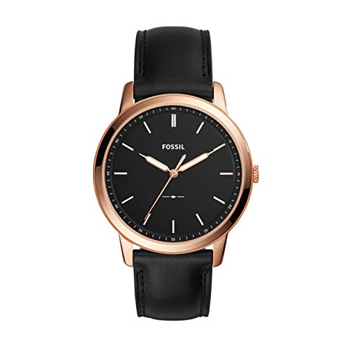 Fossil Men's 'The Minimalist 3H' Quartz Stainless Steel and Leather Casual Watch, Color:Black (Model: FS5376)