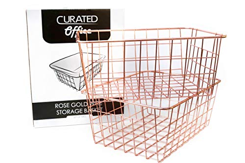 Curated Office - Rose Gold Wire Storage Baskets (Set of 2) | Rust Proof Steel Construction | Beautiful Polished Design | 11
