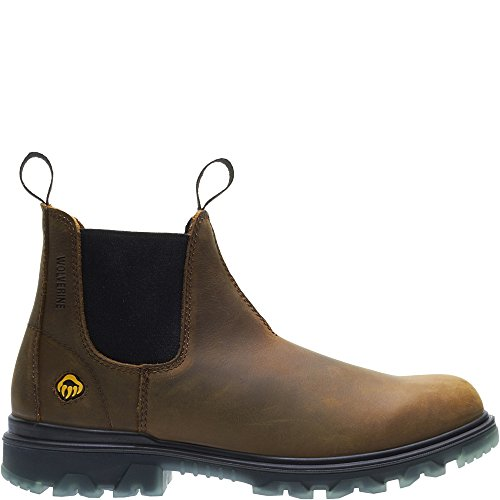 Wolverine Men's I-90 Waterproof Soft-Toe Romeo Slip-On Construction Boot, Sudan Brown, 11 M - Slip Leather Work On Mens Boots