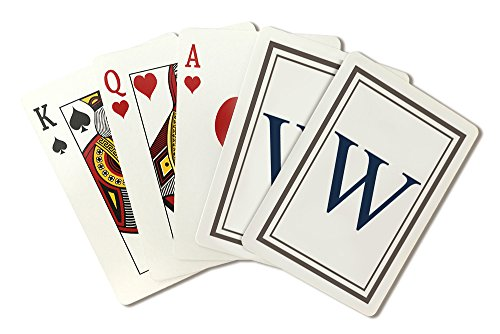 (Monogram - Estate - Gray and Blue - W (Playing Card Deck - 52 Card Poker Size with Jokers))