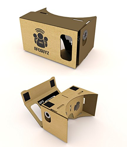 VR Kit 1.0 - HD Google Cardboard Virtual Reality Headset #1 Rated Experience inlcudes VR Lenses, Velcro, NFC, Top Quality Materials for Best Virtual Reality iPhone & Android 3D experience - Exclusively from NFCGuyz