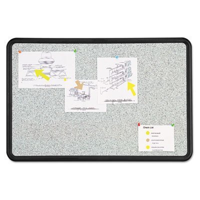 - Contour Granite Gray Tack Board, 48 x 36, Black Frame, Sold as 1 Each