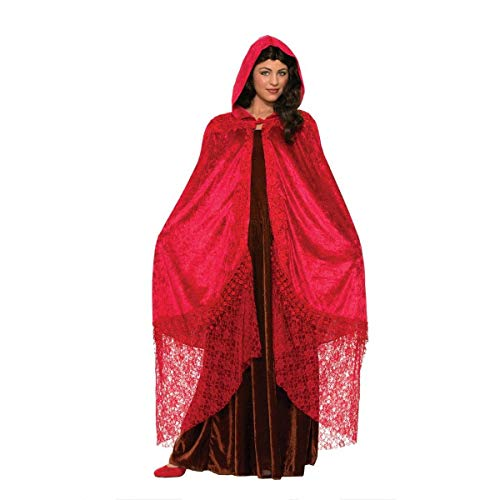 Forum Novelties Women's Medieval Fantasy Elegant Cape with Lace, Ruby, One Size