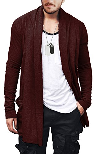 FISOUL Men's Cardigan Ruffle Shawl Collar Cardigan Open Front Blend Long Length Drape Cape Overcoat by FISOUL