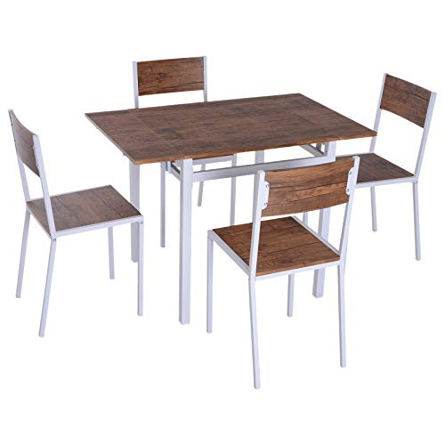 HOMCOM 5 Piece Expanding Drop Leaf Dining Table and Chairs Set - Walnut/White (Person Set 4 Dining Table)