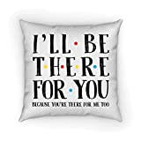 I'll Be There For You Pillow Cover, Pillow Case, Friends TV Show Inspired Pillow Case, Best Friend Gift Idea 18 x 18 Inch Winter Holiday Rustic Farmhouse Linen Cushion Case for Sofa Couch