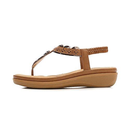 Romanas Sandalias Pendiente Dedo Zapatos con Bohemia de Separador Damas Dedo Amarillo Damas de Cómodo Sandalias Verano Playa Chanclas qXxOww7t