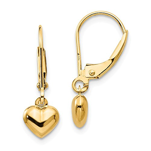 14k Yellow Gold Heart Drop Dangle Chandelier Leverback Earrings Lever Back Love Fine Jewelry Gifts For Women For Her
