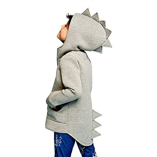 Charberry Boy Girl Hooded Dinosaur Coat Kid Baby Outerwear Jacket Dinosaur Style Hooded Headwear Coat Clothes (6T / 5-6years, Gray)