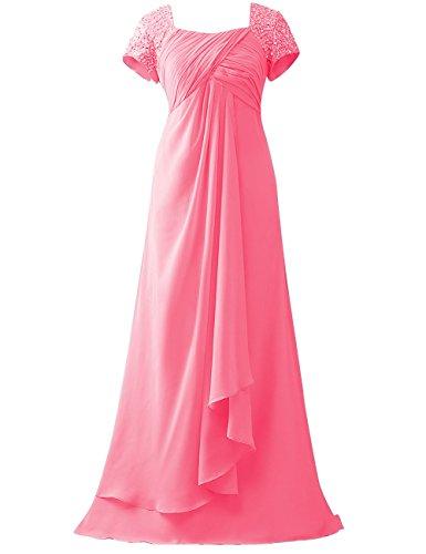 Empire Linie Abendkleider Partykleider Lang Kleider Pailletten Chiffon Koralle HUINI Brautmutterkleider Hochzeit A vIxtz