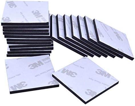 Almohadillas adhesivas de doble cara, 50 unidades, redondas, cuadradas, negras, 3 m, doble cara, 2 tama/ños, 40 mm cuadrado, 25 mm redondo