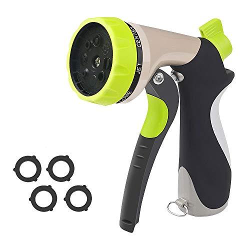 Security Garden Hose Nozzle Spray Nozzle, 8 Adjustable High Pressure Metal Watering Nozzle, Heavy Duty Hand Sprayer Long Nozzle for Water Sprayer, Suitable for Garden, Lawn, Car, Pets (Green)
