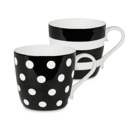 Konitz Black Dots and Stripes Mugs, Set of 2