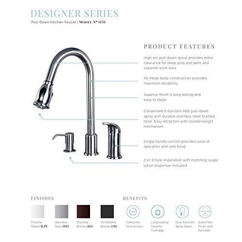 Builders Shoppe 1170CP 16'' Single Handle Pull-Down Kitchen Faucet With Soap Dispenser Chrome Finish by Builders Shoppe (Image #1)