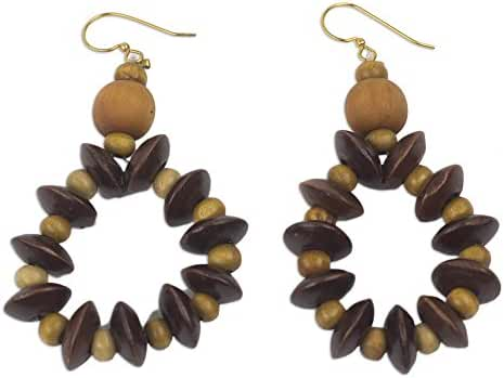 NOVICA Wood Beaded Earrings 'Bloom in Chocolate'