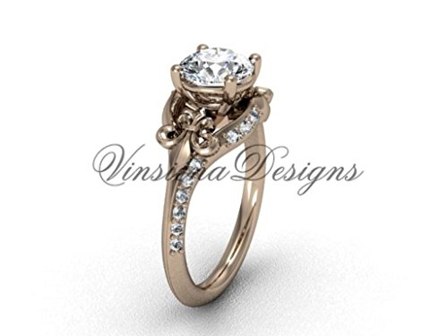 14kt rose gold diamond Fleur de Lis, eternity engagement ring VD208125